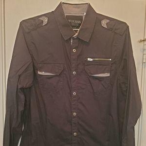Guess Black Button Down Shirt sz Large